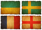 Flags football 2012 - group A, B, C, D on Vintage background wit — Photo
