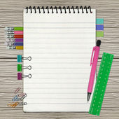 Open note book with bookmark and pencil isolated on white — Stock Photo