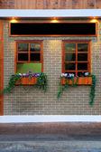 Okna i doniczka na ścianie — Zdjęcie stockowe