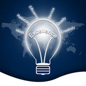 Business concept Leadership in bulbs — Stock Photo