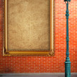 Lamp post street and frame on brick wall background — Stock Photo