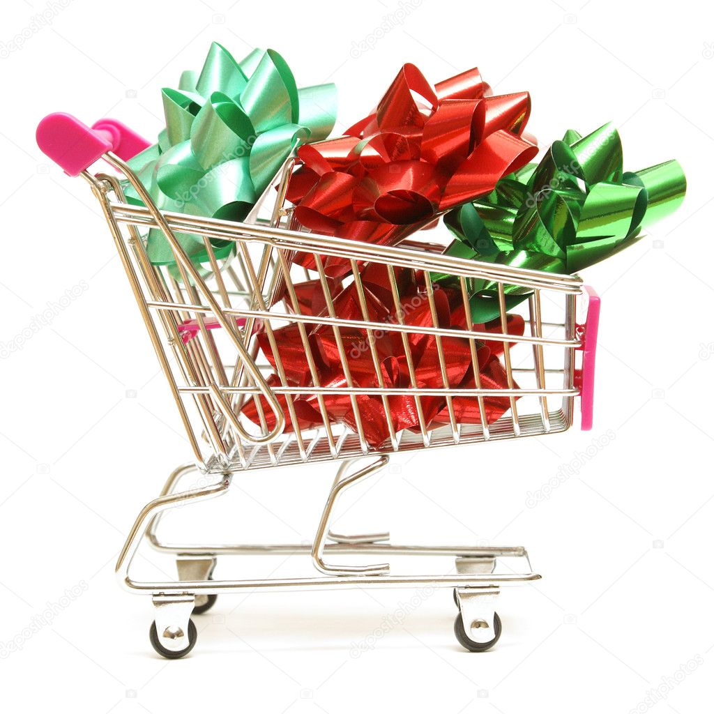 A shopping cart is full of christmas bows for the holiday spender. — Stock Photo #11230417