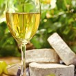 Royalty-Free Stock Photo: White wine, Brie, Camembert and grape on the table