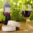 Royalty-Free Stock Photo: Red wine, Brie, Camembert and grape on the table
