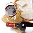 Stock Photo: Red wine, Brie and Camembert on the wood board