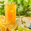Stock Photo: Juice, orange, apple, grape and lemon