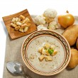 Stock Photo: Cream soup with crusts and ingredients