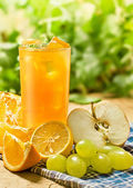 Juice, orange, apple, grape and lemon — Stock Photo