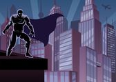 Superhrdina na střeše — Stock vektor
