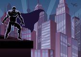 Superhéroe en techo — Vector de stock