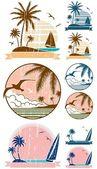 Beach Symbols — Stock Vector