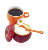 Cup of coffee with fructose — Stock Photo