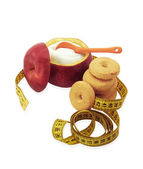 Sugar bowl made of red apple with fructose inside, cookies and measuring tape — Stock Photo