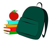 Schoolbag and books — Stock Photo