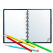 Sketchbook with pencils — Stockfoto