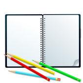 Sketchbook con matite — Foto Stock