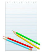 Blank notepad papper with colorful pencils — Stock Vector
