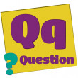 Q-question/Colorful alphabet letters — Stock Photo