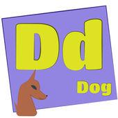 D 犬/カラフルなアルファベットの文字 — ストック写真