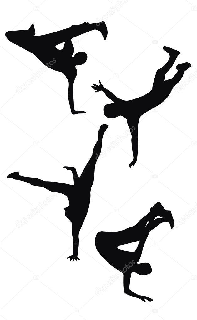 四个黑人嘻哈舞蹈剪影— 矢量图片作者 oko.laa