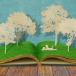 Paper cut of children read a book under tree on old book — Stock Photo #10762279