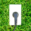 Energy concept outlet in  fresh spring green grass — Lizenzfreies Foto