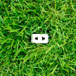 Green energy concept : outlet in grass — Stock Photo