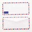 Classic air mail envelope isolated on white background — Stock Photo
