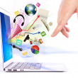 Hand write on modern laptop  (Elements of this image furnished b — Stock Photo