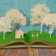 Paper cut of family symbol on old grass book ( House,Tree,Mom,D — Stock Photo #10846993