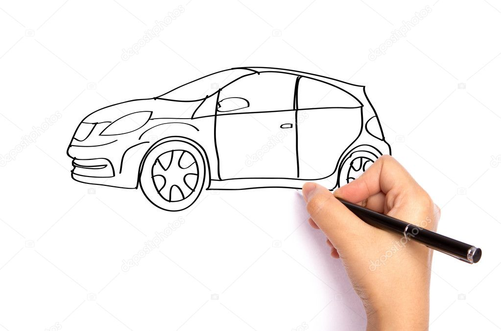 Hand write car  with pen on paper over  white background — Stock Photo #10846357