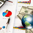 Dollar and business graph with earth (Elements of this image fur — Stock Photo