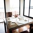 Dinning room with table and chairs — Stock Photo