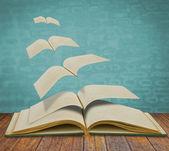 Abrir viejos libros voladores — Foto de Stock