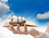 Beautiful woman hand holding Book with opened pages of shape of — Stock Photo