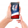 Business hand with mobile phone show American Flag for Independe — Stok fotoğraf