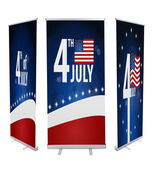 Banner display American Flag for Independence Day isolated on wh — Stock Photo