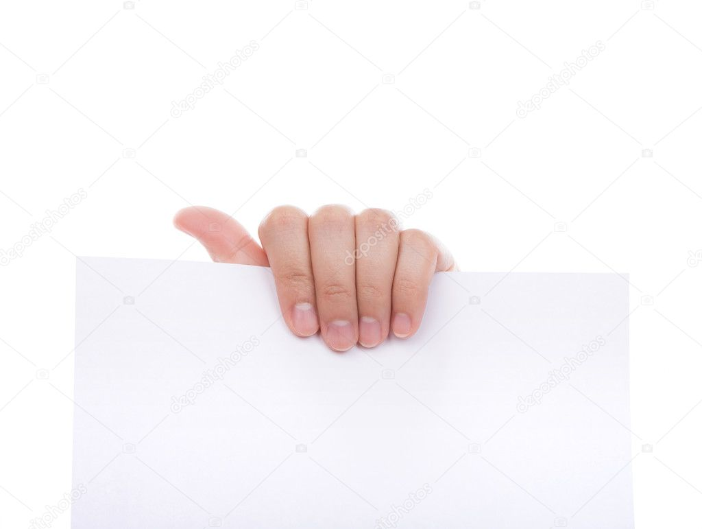 Woman Hand Holding Paper Woman Hand Holding White Empty