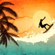 Vecteur: Surfer, palms and sea