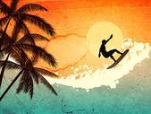Persona que practica surf, palmeras y mar — Vector de stock