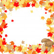 Frame of maple leaves and mushrooms — Stock Vector