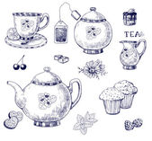 Tea set — Vector de stock