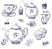 Juego de té — Vector de stock