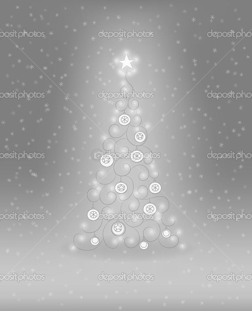 Decorative Christmas tree with baubles and lights  Vektorgrafik #11932885