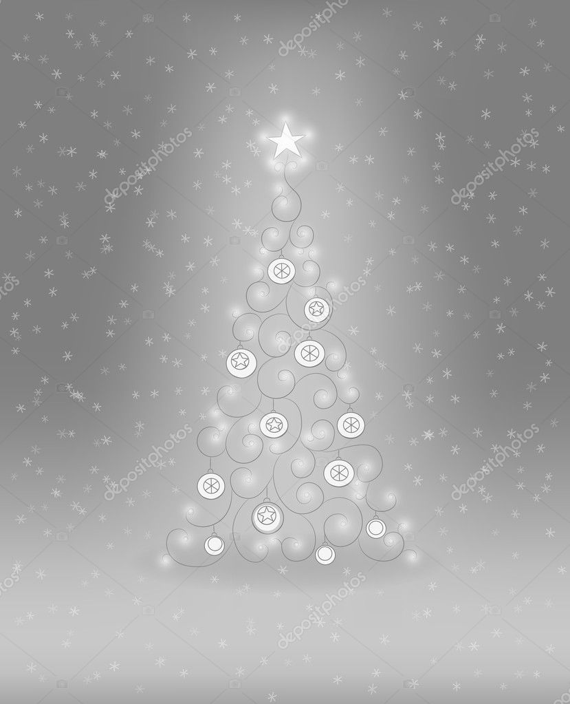 Decorative Christmas tree with baubles and lights — ベクター素材ストック #11932885
