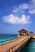 Island in ocean, overwater villa with endless swimming pools. Ma — Foto Stock