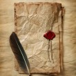 Blank paper with wax seal, quill & ink — Stock Photo