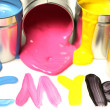 Stock Photo: CMYK cans of paint