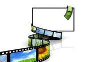 Film around blank TV — Stock Photo