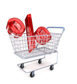 Shopping cart with percent sign — Stock Photo
